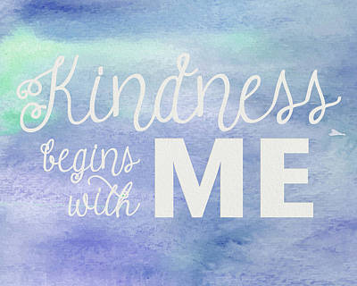 Photograph - Kindness Begins With Me Blue by Emily Smith