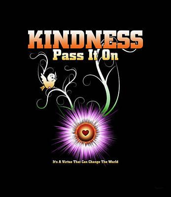 Digital Art - Kindness - Pass It On Starburst Heart by Xzendor7