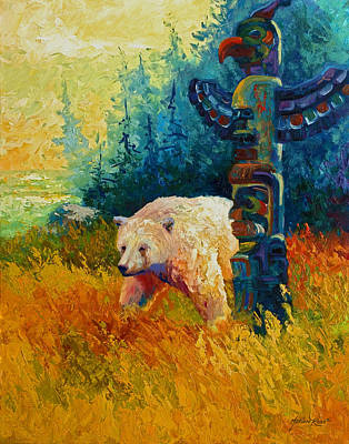 Salmon Painting - Kindred Spirits - Kermode Spirit Bear by Marion Rose
