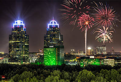 Photograph - King And Queen Buildings Fireworks by Anna Rumiantseva