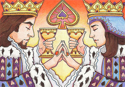 Artist Trading Cards Drawing - King And Queen Of Spades by Amy S Turner