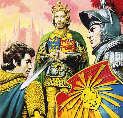 Accolade Painting - King Arthur by Roger Payne