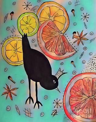 Grapefruit Mixed Media - King Blackbird  by Nan Cardoza
