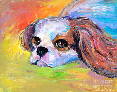 King Charles Cavalier Spaniel Dog Painting Art Print