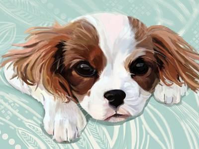 Pup Digital Art - King Charles Spaniel by Plum Ovelgonne
