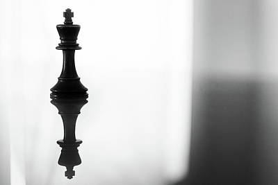 Photograph - King Chess Piece In Monochrome by John Williams