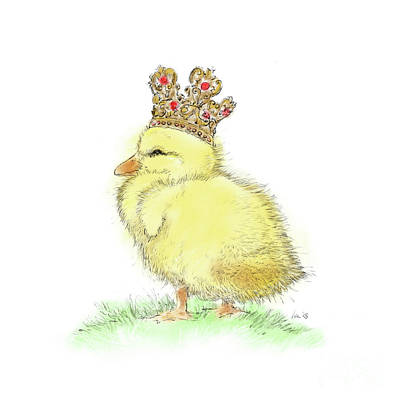 Wall Art - Drawing - King Duckling by Laurie Musser