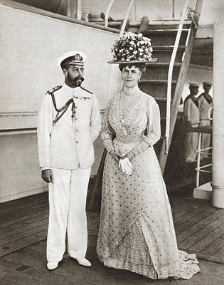Queen Mary Drawing - King George V And Queen Mary In 1911 On by Vintage Design Pics