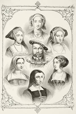Catherine Howard Drawing - King Henry Viii Of England And His Six by Vintage Design Pics