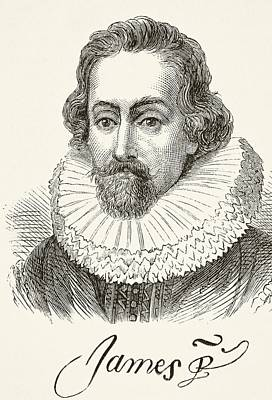 Autographed Drawing - King James I Of England 1566 To 1625 by Vintage Design Pics