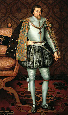 Silk Painting - King James I by Paul van Somer