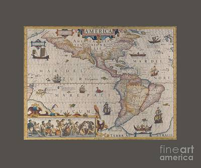 King James Map Of America Art Print by Frederick Holiday