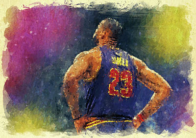 Athletes Digital Art - King James by Ricky Barnard