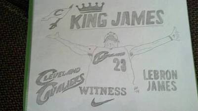 Lebron James Drawing - King James by Stephanie Deskins