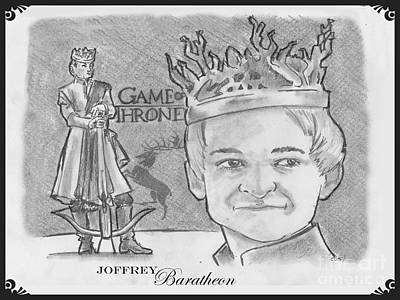 Drawing - King Joffrey Baratheon by Chris  DelVecchio