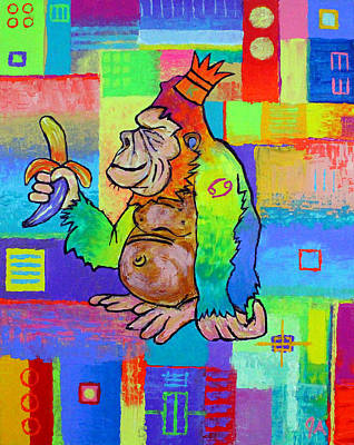 Painting - King Konrad The Monkey by Jeremy Aiyadurai