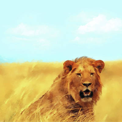 Painting - King Lion by Gary Grayson