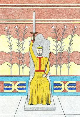 Minotaur Drawing - King Minos by Kathy Pullen