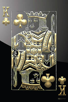 King Of Clubs In Gold On Black   Original