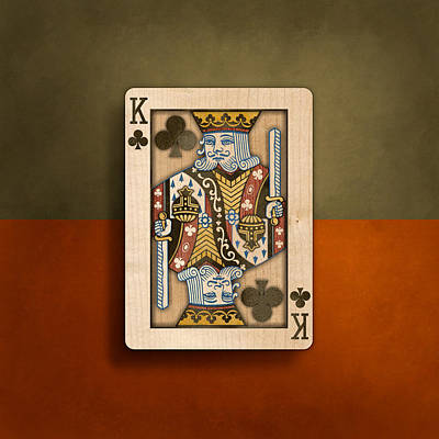 King Of Clubs In Wood Art Print by YoPedro