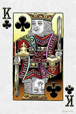 Digital Art - King Of Clubs Over White Leather  by Serge Averbukh