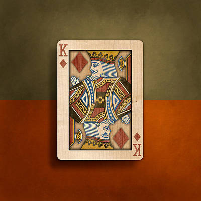 Paste Photograph - King Of Diamonds In Wood by YoPedro