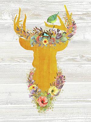 Deer Silhouette Digital Art - King Of Enchanted Forest, Golden Buck, Birds Nest Crown by Tina Lavoie