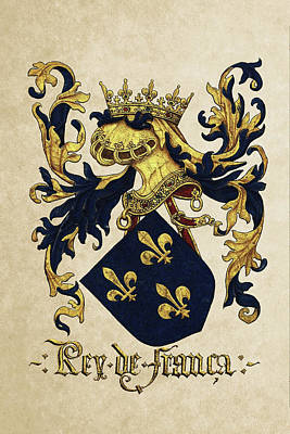 Digital Art - King Of France Coat Of Arms - Livro Do Armeiro-mor by Serge Averbukh