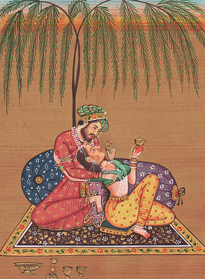 Handcrafted Painting - King Of India Mughal Art Of Love Kamsutra Under The Tree Paper Painting Artwork Drawing by M B Sharma