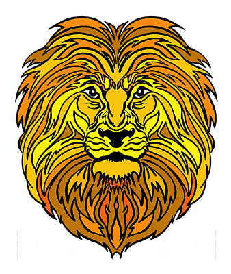 Drawing - King Of The Jungle, Gold  by Marilyn Hilliard
