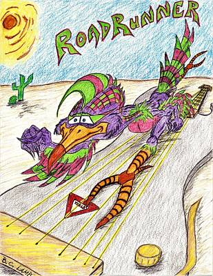 Roadrunner Drawing - King Of The Road by Bryant Lamb