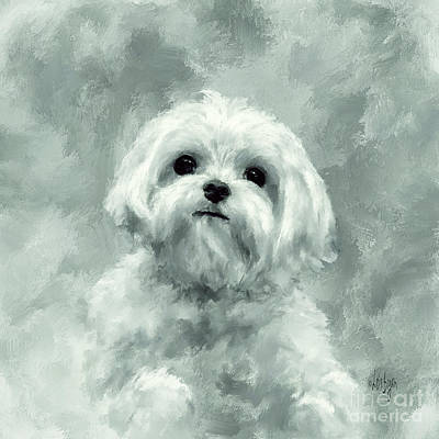 Maltese Puppy Wall Art - Digital Art - King Of The World In Teal by Lois Bryan