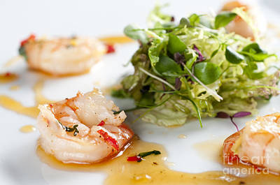 King Prawns Ginger Chilli And Coriander Starter Presented On A White Background Art Print by Andy Smy