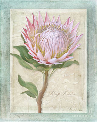Hawaiian Flower Painting - King Protea Blossom - Vintage Style Botanical Floral 1 by Audrey Jeanne Roberts