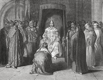 King Richard II Knighting The Kings Of Art Print by Vintage Design Pics