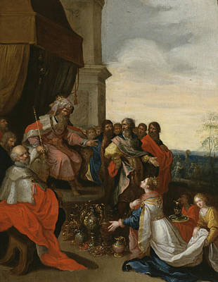 Painting - King Solomon Receiving The Queen Of Sheba by Frans Francken the Younger