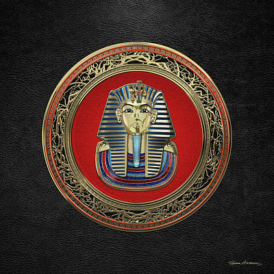 Digital Art - King Tut -tutankhamun's Gold Death Mask Over Black Leather by Serge Averbukh