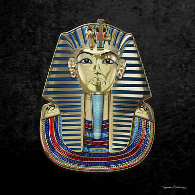 Digital Art - King Tut -tutankhamun's Gold Death Mask Over Black Velvet by Serge Averbukh