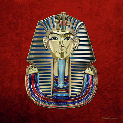 Digital Art - King Tut -tutankhamun's Gold Death Mask Over Red Velvet by Serge Averbukh