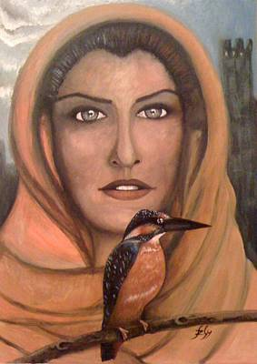 Painting - Kingfisher - Portrait Of Young Woman by Gyorgy Szilagyi