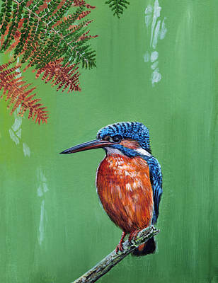 Kingfisher Painting - Kingfisher by Arie Van der Wijst