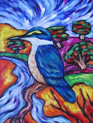 Painting - Kingfisher By The River 1 by Dianne  Connolly