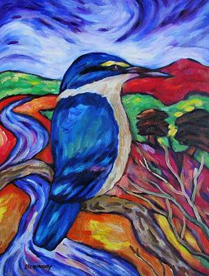 Painting - Kingfisher By The River 2 by Dianne  Connolly