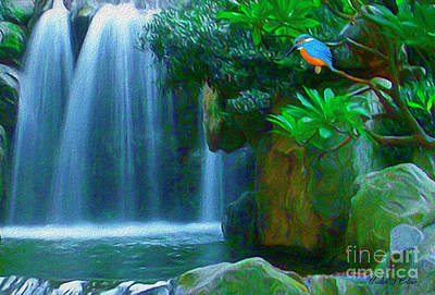 Digital Art - Kingfisher Falls by Walter Colvin