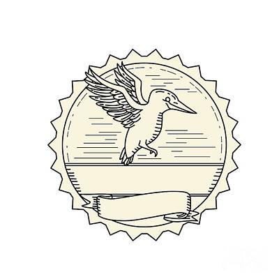 Kingfisher Digital Art - Kingfisher Flying Side Monoline by Aloysius Patrimonio