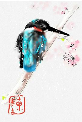 Kingfisher Digital Art - Kingfisher In Late Spring Snow by Debbi Saccomanno Chan