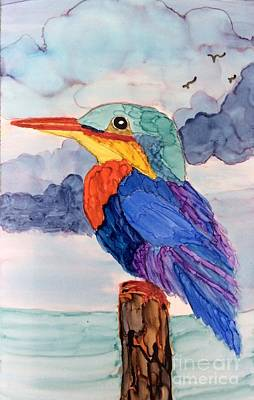Painting - Kingfisher On Post by Suzanne Canner