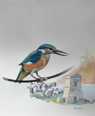 Painting - Kingfisher Over Tal-lippija Tower by Ray Agius