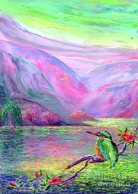 Fantasy Tree Art Painting - Kingfisher, Shimmering Streams by Jane Small