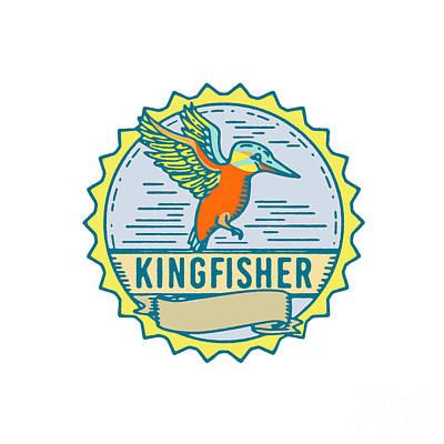Kingfisher Digital Art - Kingfisher Side Rosette Retro by Aloysius Patrimonio